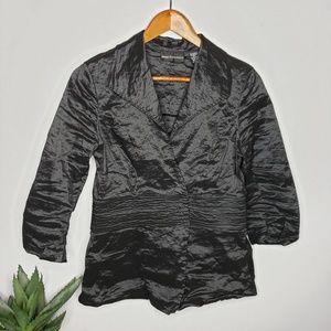 Dana Buchman Black Metallic Wrap Wrinkle Top
